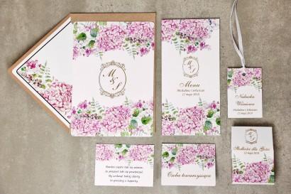 Zestaw próbny zaproszeń ślubnych ze złoceniem wraz z dodatkami i upominkami dla gości ślubnych, weselnych - Sorento nr 6