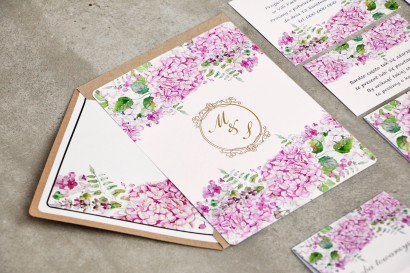 Zaproszenie ślubne, zaproszenia na ślub kwiatowe ze złoceniem - Sorento nr 6 - Różowe hortensje