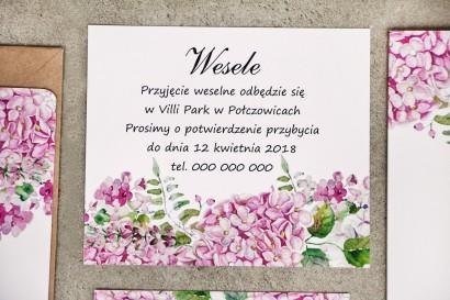 Bilecik do zaproszenia 120 x 98 mm prezenty ślubne wesele - Sorento nr 6 - Różowe hortensje - ze złoceniem