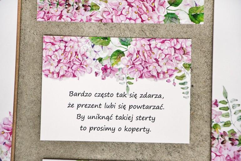 Bilecik do zaproszenia 105 x 74 mm prezenty ślubne wesele - Sorento nr 6 - Różowe hortensje - ze złoceniem