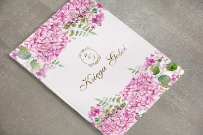 Księga Gości - dodatki ślubne, weselne, ze złoceniem - Sorento nr 6 - Różowe hortensje
