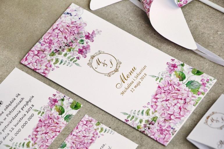 Menu weselne, stół weselny - Sorento nr 6 - Różowe hortensje - dodatki ślubne ze złoceniem
