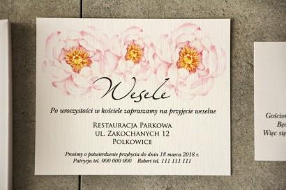 Bilecik do zaproszenia 120 x 98 mm prezenty ślubne wesele - Pistacjowe nr 4 - Delikatne pudrowe piwonie