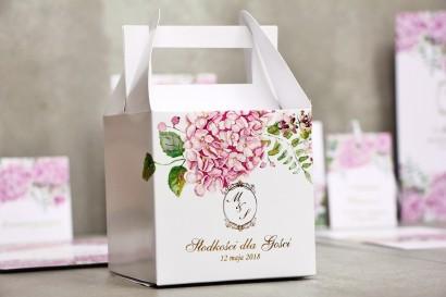Pudełko na ciasto kwadratowe, tort weselny - Sorento nr 6 - Różowe hortensje - dodatki ślubne ze złoceniem