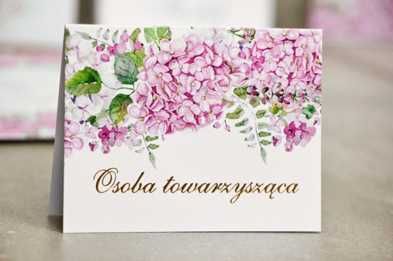 Winietki na stół weselny, ślub - Sorento nr 6 - Różowe hortensje - kwiatowe dodatki ślubne ze złoceniem