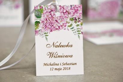 Zawieszka na butelkę, wódka weselna, ślub - Sorento nr 6 - Różowe Hortensje - dodatki ślubne ze złoceniem