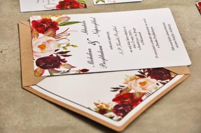 Zaproszenie ślubne, zaproszenia na ślub kwiatowe ze złoceniem - Sorento nr 7 - Bordowo-pudrowe kwiaty