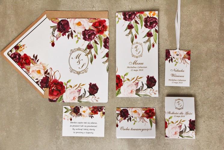 Zaproszenie ślubne z dodatkami - Sorento nr 7 - Brodowo-pudrowe kwiaty - ze złoceniem