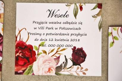Bilecik do zaproszenia 120 x 98 mm prezenty ślubne wesele - Sorento nr 7 - Bordowo-pudrowe kwiaty - ze złoceniem