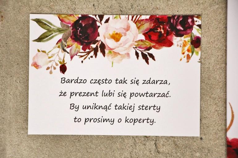 Bilecik do zaproszenia 105 x 74 mm prezenty ślubne wesele - Sorento nr 7 - Bordowo-pudrowe kwiaty - ze złoceniem