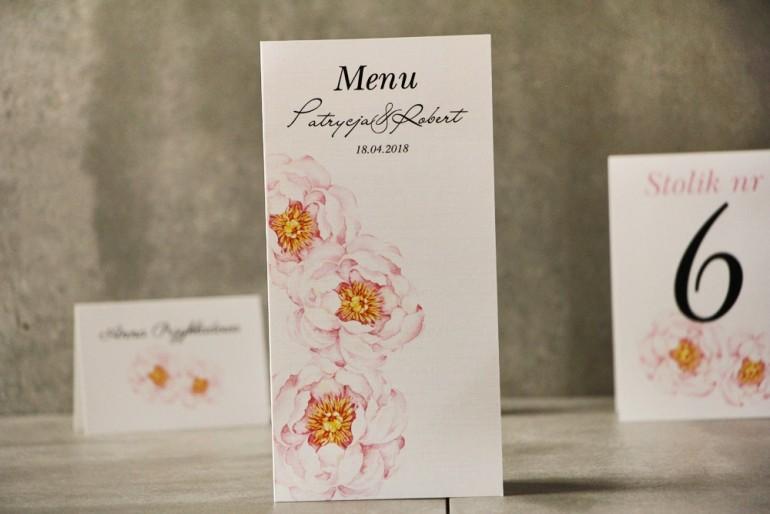 Menu weselne, ślub, stół weselny - Pistacjowe nr 4 - Delikatne pastelowe piwonie.