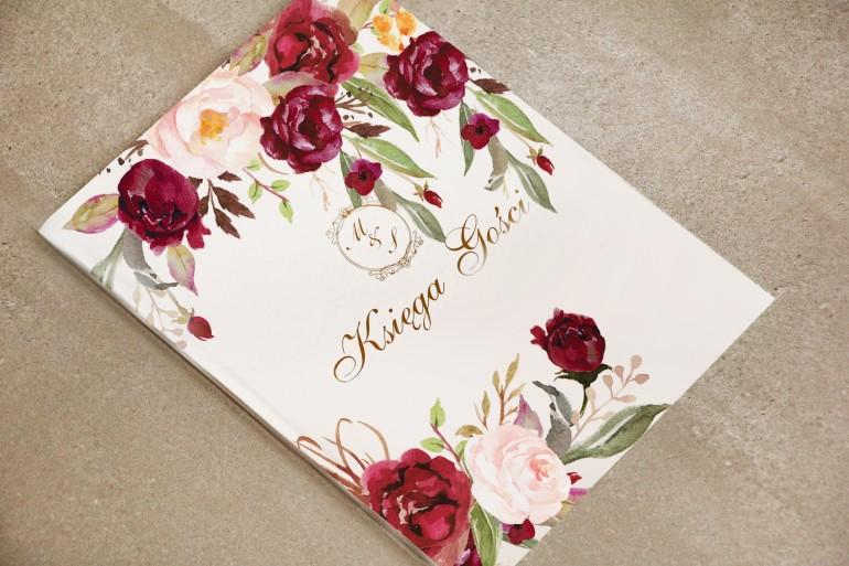 Księga Gości - dodatki ślubne, weselne ze złoceniem - Sorento nr 7 - Bordowo-pudrowe kwiaty