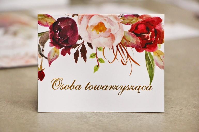 Winietki na stół weselny, ślub - Sorento nr 7 - Bordowo-pudrowe - kwiatowe dodatki ślubne ze złoceniem