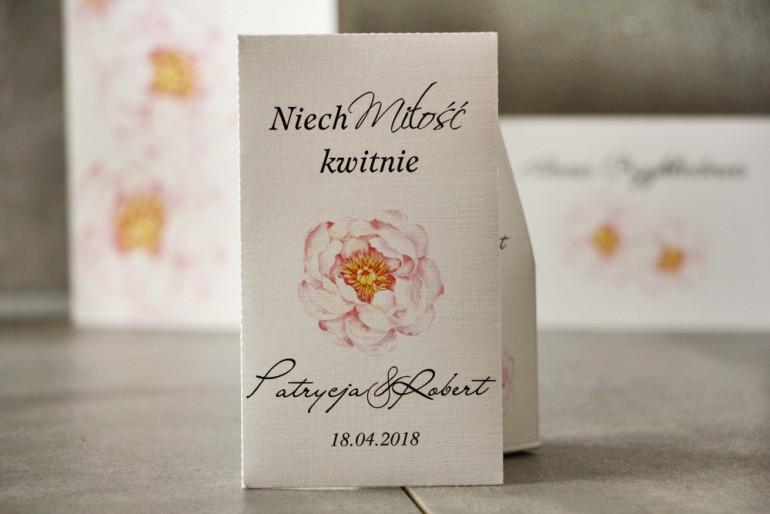 Podziękowania dla Gości weselnych - Nasiona Niezapominajki - Pistacjowe nr 4 - Delikatna różowa peonia.