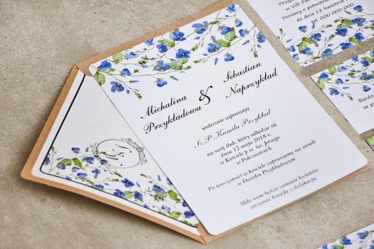 Zaproszenie ślubne eleganckie ze złoceniem - Sorento nr 4 - Niezapominajki