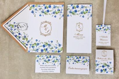 Zaproszenie ślubne z dodatkami - Sorento nr 4 - Niezapominajki - eleganckie ze złoceniem