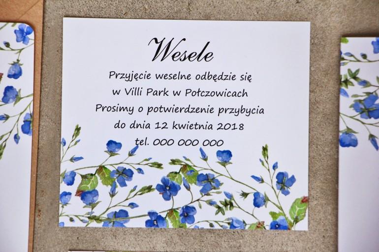 Bilecik do zaproszenia 120 x 98 mm prezenty ślubne wesele - Sorento nr 4 - Niezapominajki