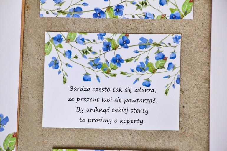 Bilecik do zaproszenia 105 x 74 mm prezenty ślubne wesele - Sorento nr 4 - Niezapominajki