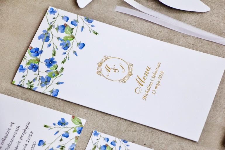Menu weselne, stół weselny - Sorento nr 4  - Niezapominajki - dodatki ślubne ze złoceniem
