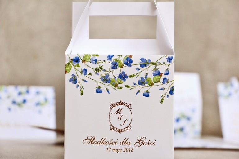 Pudełko na ciasto kwadratowe, tort weselny - Sorento nr 4 - Niezapominajki - dodatki ślubne ze złoceniem