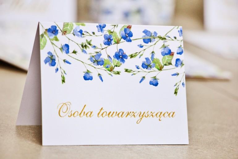 Winietki na stół weselny, ślub - Sorento nr 4 - Niezapominajki - dodatki ślubne ze złoceniem