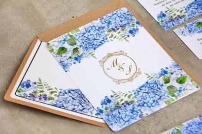 Zaproszenie ślubne eleganckie ze złoceniem - Sorento nr 5 - niebieskie hortensje