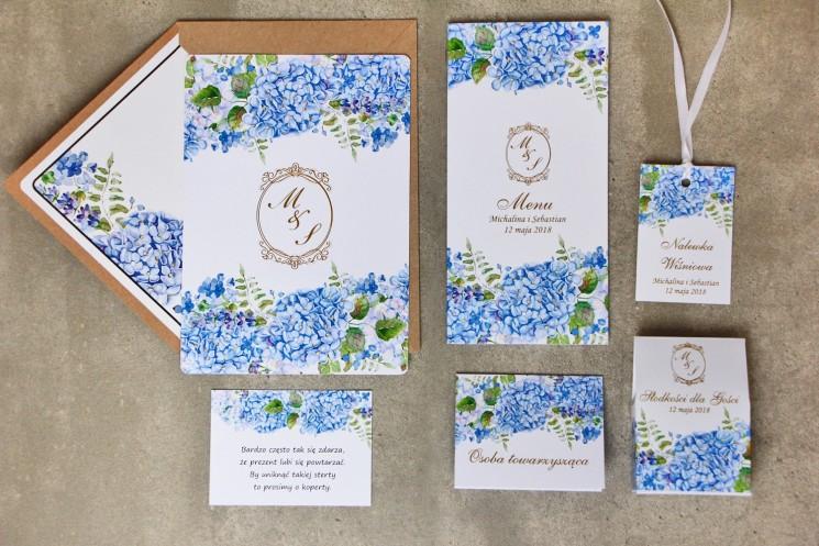Zaproszenie ślubne z dodatkami - Sorento nr 5 - niebieskie hortensje - Eleganckie ze złoceniem