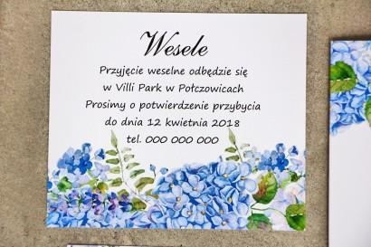 Bilecik do zaproszenia 120 x 98 mm prezenty ślubne wesele - Sorento nr 5 - Niebieskie hortensje