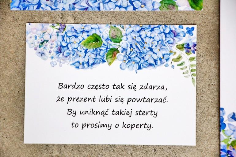 Bilecik do zaproszenia 105 x 74 mm prezenty ślubne wesele - Sorento nr 5 - Niebieskie hortensje