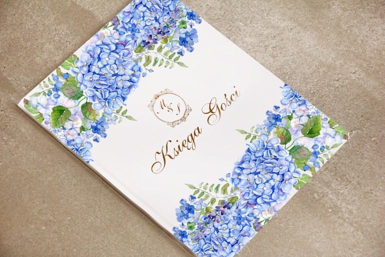 Księga Gości, dodatki ślubne, weselne - Sorento nr 5 - Niebieskie hortensje - ze złoceniem
