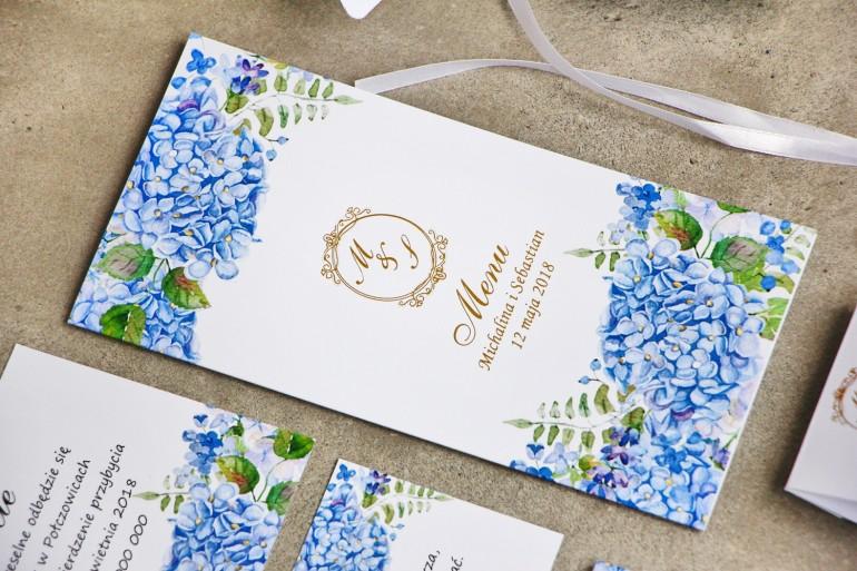 Menu weselne, stół weselny - Sorento nr 5 - Niebieskie hortensje - dodatki ślubne ze złoceniem