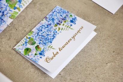 Winietki na stół weselny, ślub - Sorento nr 5 - Niebieskie hortensje - dodatki ślubne ze złoceniem