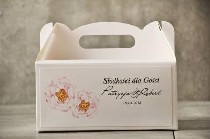 Prostokątne pudełko na ciasto, tort weselny, Ślub - Pistacjowe nr 4 - Delikatne pudrowe piwonie