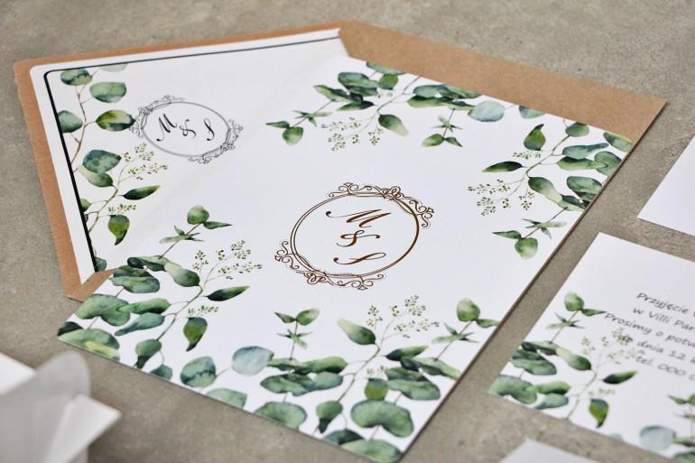 Zaproszenie ślubne, zaproszenia na ślub kwiatowe ze złoceniem - Sorento nr 9 - Liście eukaliptusa