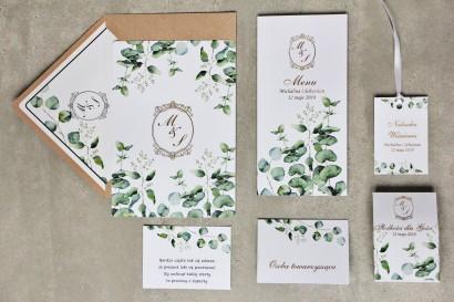Zaproszenie ślubne z dodatkami - Sorento nr 9 - Liście eukaliptusa - ze złoceniem