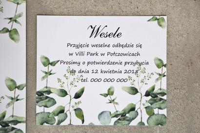 Bilecik do zaproszenia 120 x 98 mm prezenty ślubne wesele - Sorento nr 9 - Liście eukaliptusa