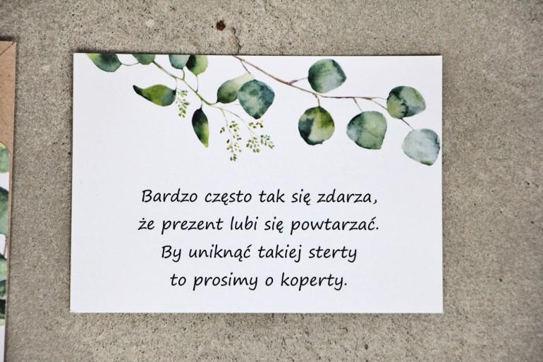 Bilecik do zaproszenia 105 x 74 mm prezenty ślubne wesele - Sorento nr 9 - Liście eukaliptusa