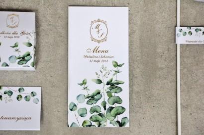 Menu weselne, stół weselny - Sorento nr 9 - Liście eukaliptusa - dodatki ślubne ze złoceniem