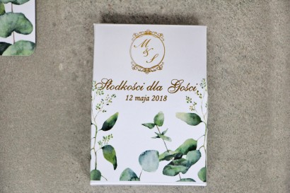 Pudełeczko stojące na cukierki, podziękowania dla Gości weselnych - Sorento nr 9 - Liście eukaliptusa - ze złoceniem