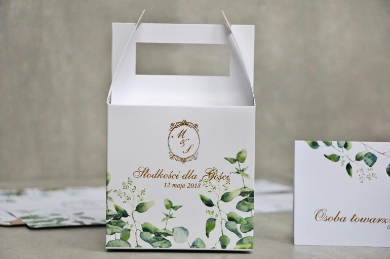 Pudełko na ciasto kwadratowe, tort weselny - Sorento nr 9 - Liście eukaliptusa - dodatki ślubne ze złoceniem
