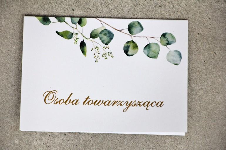 Winietki na stół weselny, ślub - Sorento nr 9 - Liście eukaliptusa - kwiatowe dodatki ślubne ze złoceniem