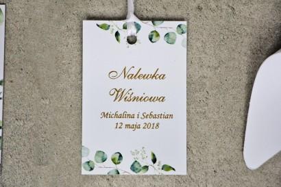Zawieszka na butelkę, wódka weselna, ślub - Sorento nr 9 - Liście eukaliptusa - dodatki ślubne ze złoceniem