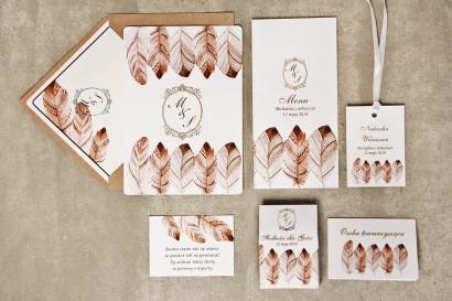 Zestaw próbny zaproszeń ślubnych ze złoceniem wraz z dodatkami i upominkami dla gości ślubnych, weselnych - Sorento nr 10