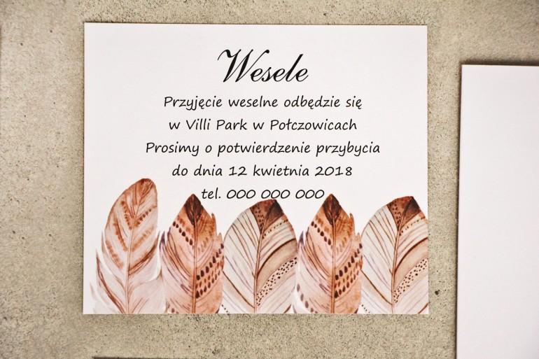 Bilecik do zaproszenia 120 x 98 mm prezenty ślubne wesele - Sorento nr 10 - Boho piórka