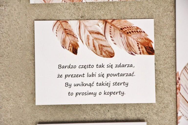 Bilecik do zaproszenia 105 x 74 mm prezenty ślubne wesele - Sorento nr 10 - Piórka boho