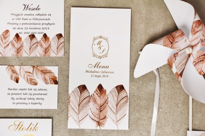 Menu weselne, stół weselny - Sorento nr 10 - Piórka boho - dodatku ślubne ze złoceniem