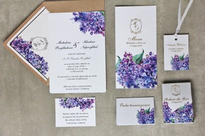 Zaproszenie ślubne z dodatkami - Sorento nr 11- Fioletowy bez - ze złoceniem