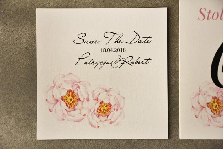 Bilecik Save The Date do zaproszenia - Pistacjowe nr 4 - Pudrowe piwonie