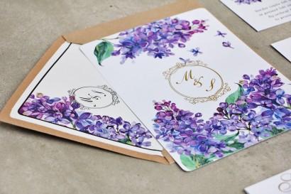 Zaproszenie ślubne, zaproszenia na ślub kwiatowe ze złoceniem - Sorento nr 11 - Fioletowy bez