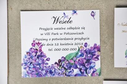 Bilecik do zaproszenia 120 x 98 mm prezenty ślubne wesele - Sorento nr 11 - Fioletowy wiosenny bez